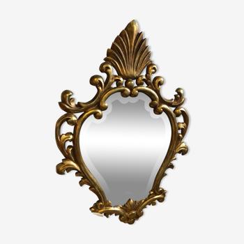 Miroir style baroque  ovale sculpture bois  soufflé feuille d'or