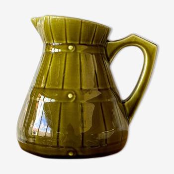 Olive green glazed ceramic pitcher