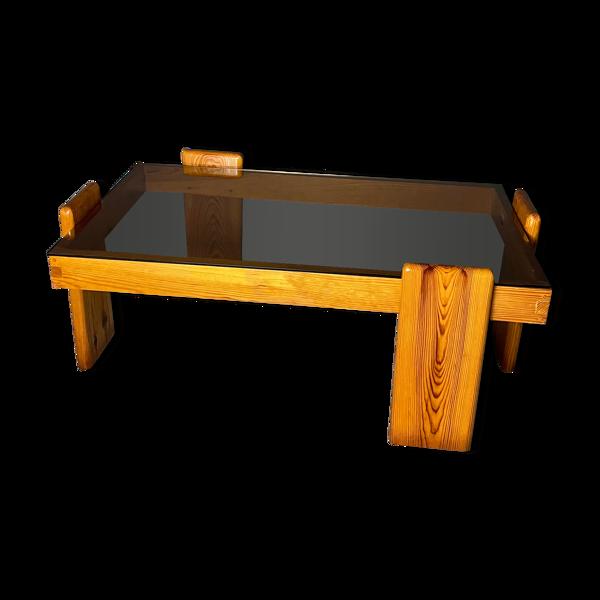 Table basse en pin & plateau en verre