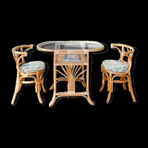Selency Table & chaises  en rotin