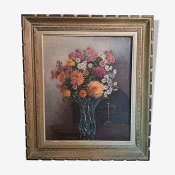 Peinture bouquet de fleurs vintage