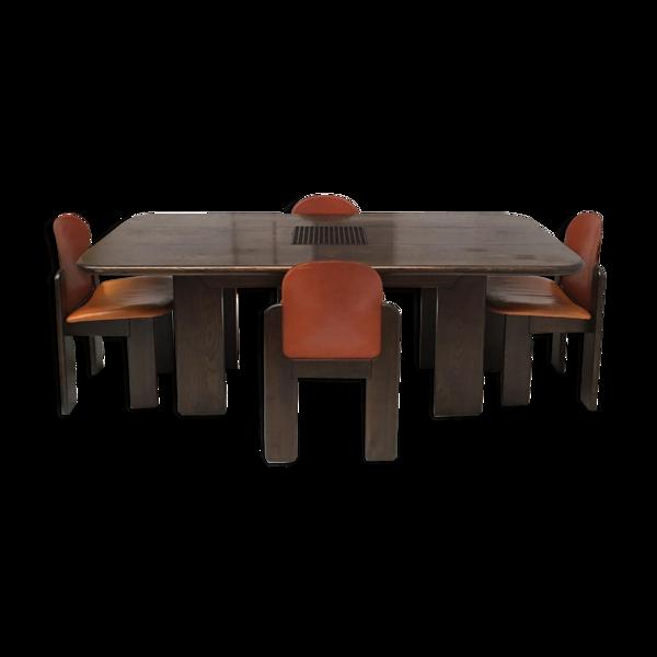 Set de salon en bois massif et en cuir 1970s