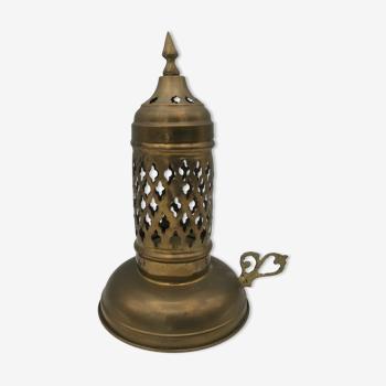 Bougeoir à main lanterne photophore en laiton 20 cm