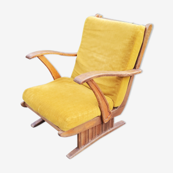 Sleigh armchair of the 40s/50s in oak