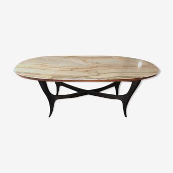 Table à manger italienne vintage en bois et marbre blanc des années 1950