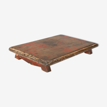 Tablette plateau vieux teck patine d'origine marron rouge inde