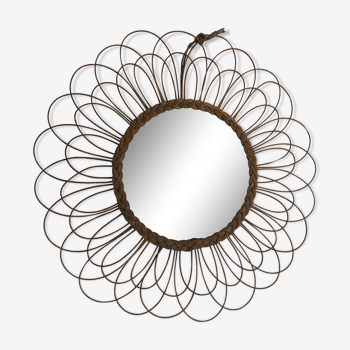 Miroir vintage 1960 soleil fleur rotin  - 65 cm