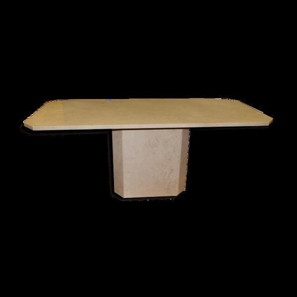Table de salla à manger octogonale en pierre design