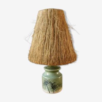 Lampe en céramique, décor herbier et abat jour en fibres naturelles