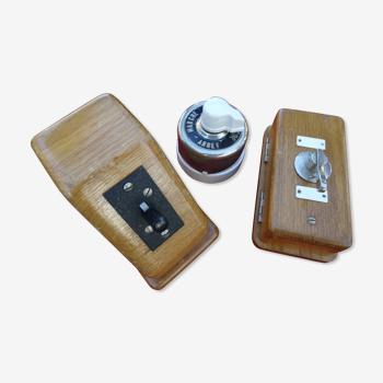 Lot de 3 interrupteurs bois et porcelaine