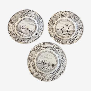 Lot de 3 assiettes de la faïencerie Guyon de Boulen Gien série médaille exposition 1844