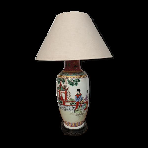Lampe ancienne Chine porcelaine émaillée