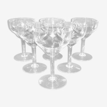 Lot de 6 verres à eau ou vin rouge vintage en  verre soufflé gravé 13.2cm ht