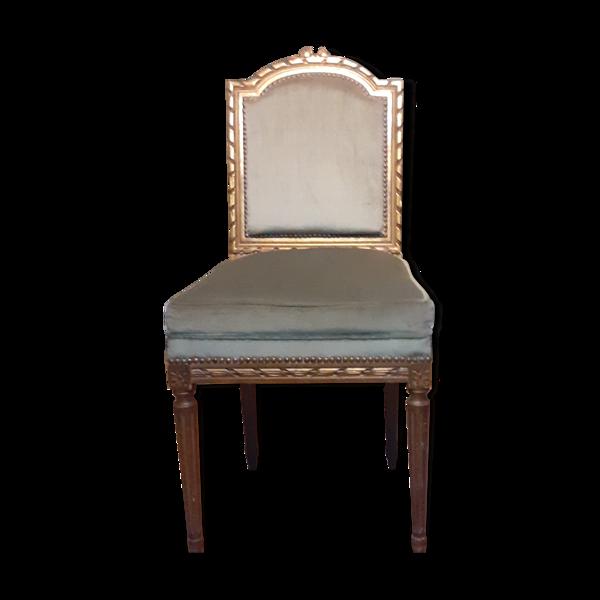 Chaise velours bleu et dorure