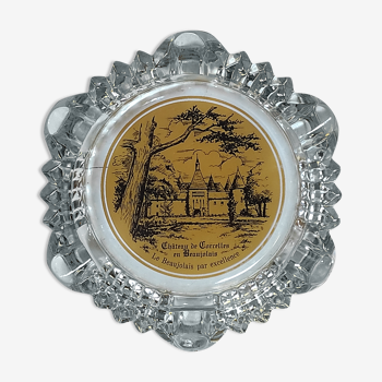 Ancien cendrier en verre publicitaire château de corcelles en beaujolais vin vintage années 60-70