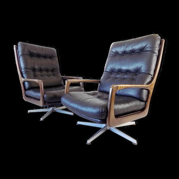 Paire de fauteuils Eugen Schmidt  en cuir noir pour Soloform