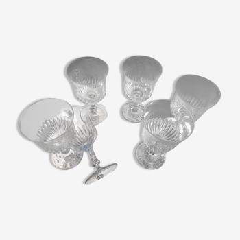 Set de 6 verres à pieds en verre ciselé