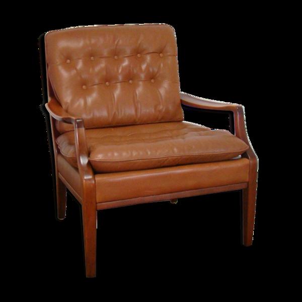 Fauteuil chesterfield en cuir vintage