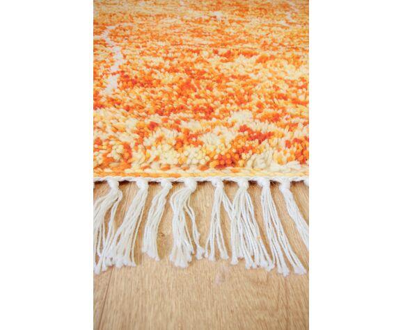 """Tapis beni ouarain orange """"zaio"""" 235 x 150"""