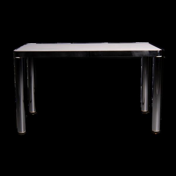 Selency Table à manger VarSalvarani avec structure en acier chromé