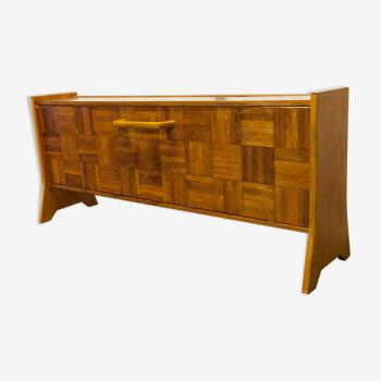 Unique bar furniture in wood and orange ceramics 1970 handcrafted