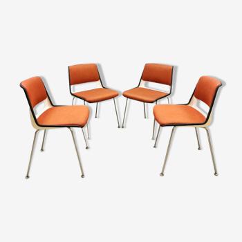 Ensemble de 4 chaises à manger vintage Gispen Cordemeijer 'Modèle 2210