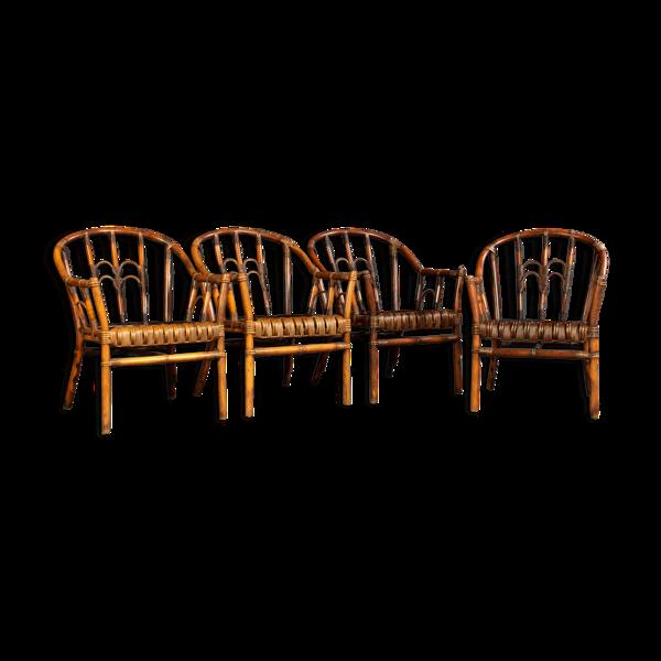 Ensemble de quatre fauteuils en bambou