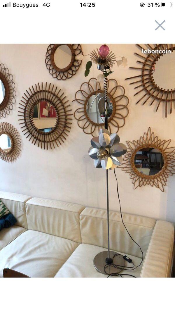 Lampe fleur authentique année 70 design Trocme