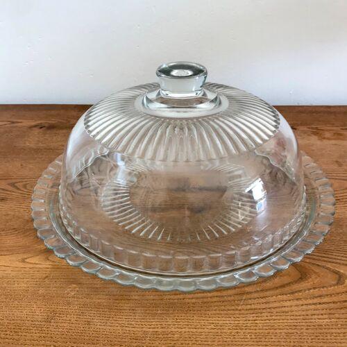 Cloche et assiette plateau en verre