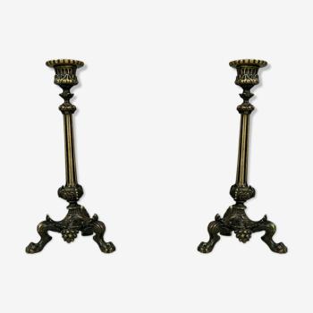 Paire de bougeoirs Empire en bronze patiné vers 1850