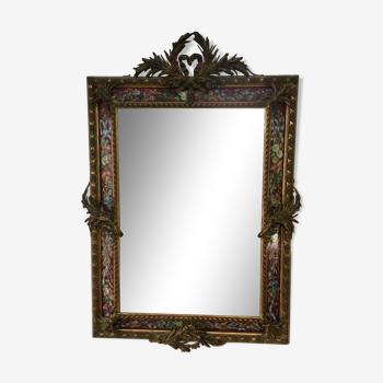 Miroir vénitien a parclose ornementées du 19ème 98x150cm