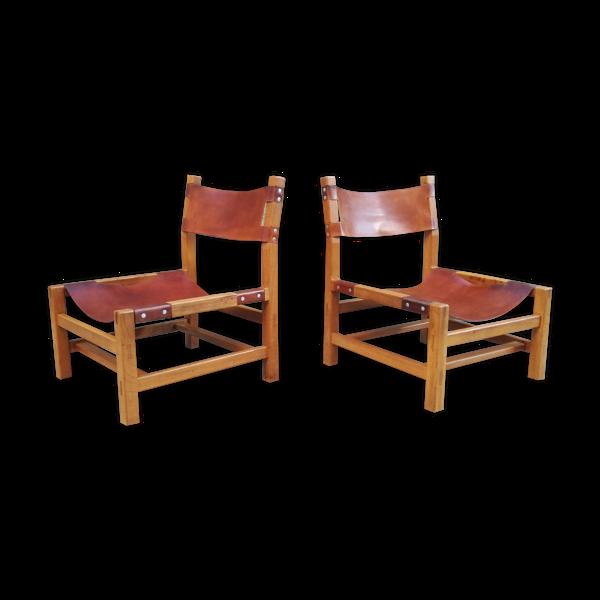 Selency Paire de Chauffeuses en orme et cuir par la Maison Regain, 1960s