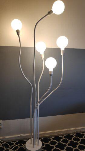 lampadaire blanc design 5 feux sur bras articulés