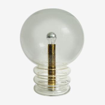 """Lampe de table """"Bulb"""" Space Age en verre, effet Ice-glass, Glashütte Limburg 1970"""