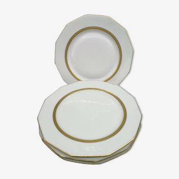 Lot de 4 assiettes à dessert en porcelaine de Limoges blanc et double dorure