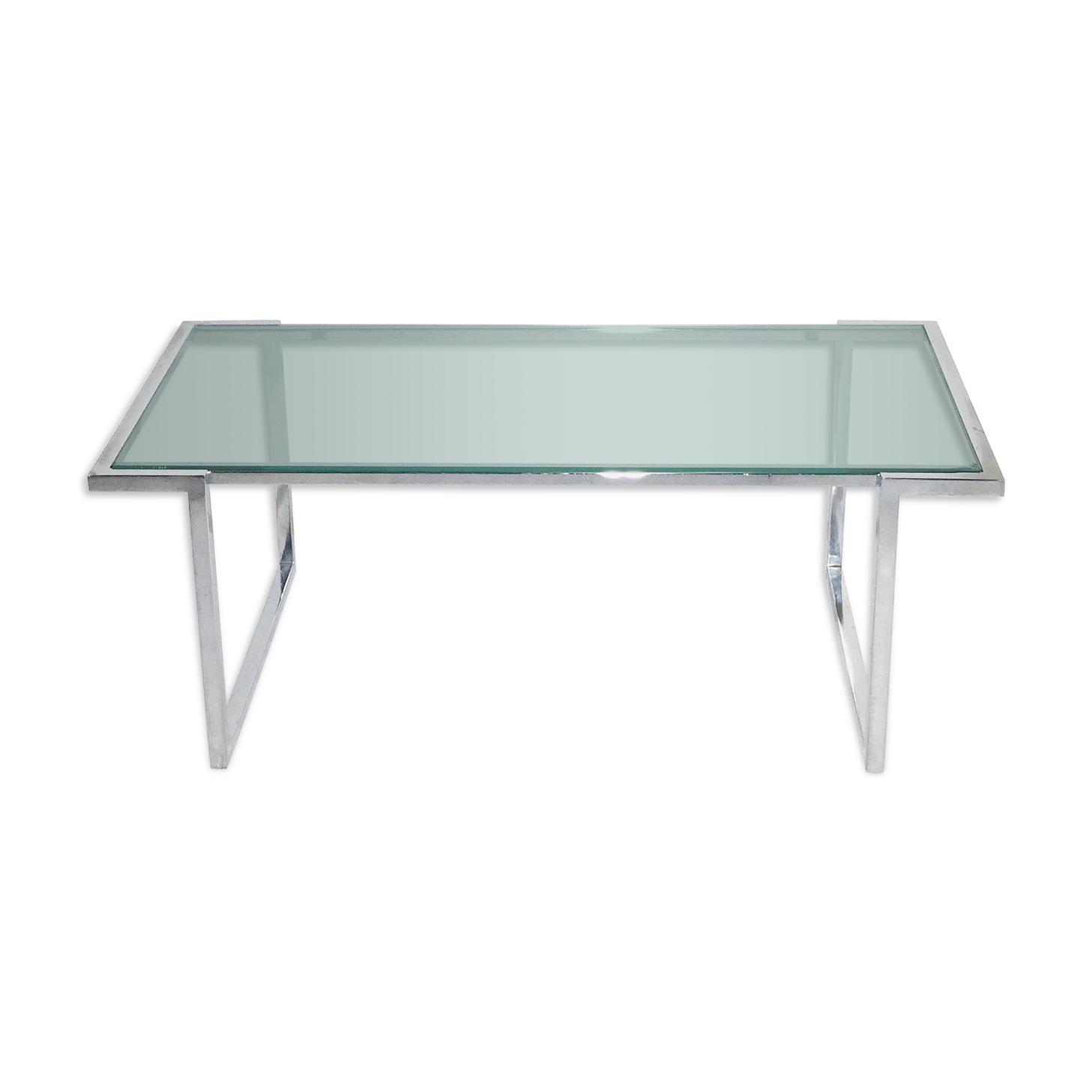 Table basse vintage - aluminium et verre - 1980
