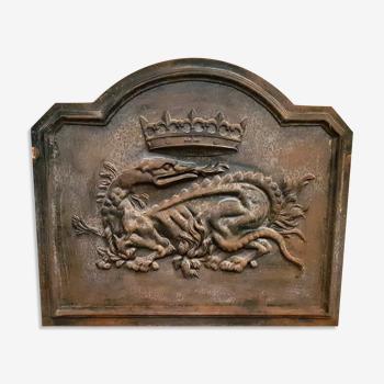 Plaque de cheminée ancienne en fonte salamandre royal