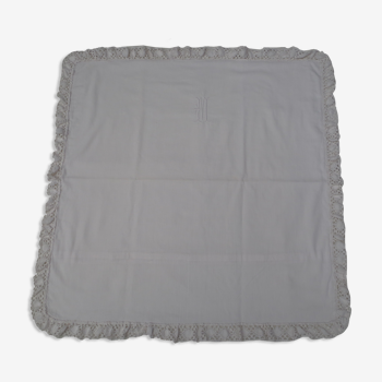Taie d'oreiller blanche ancienne 78x74cm monogrammée et brodée main