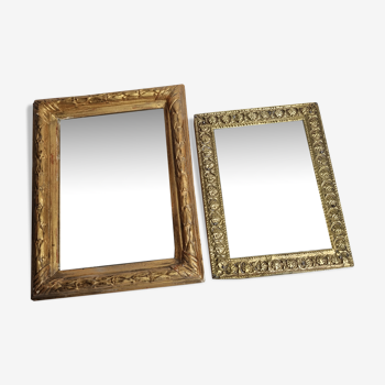 Pair of antique mirrors in gilded wood and metal  17x22cm