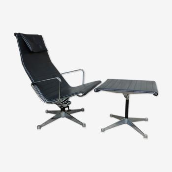 Fauteuil Lounge Chair EA124 & Ottoman EA125 par Charles & Ray Eames pour Herman Miller 1960s