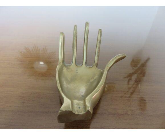 """Cendrier """" main """" en laiton années 70"""