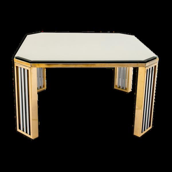 Table basse chrome et bronze