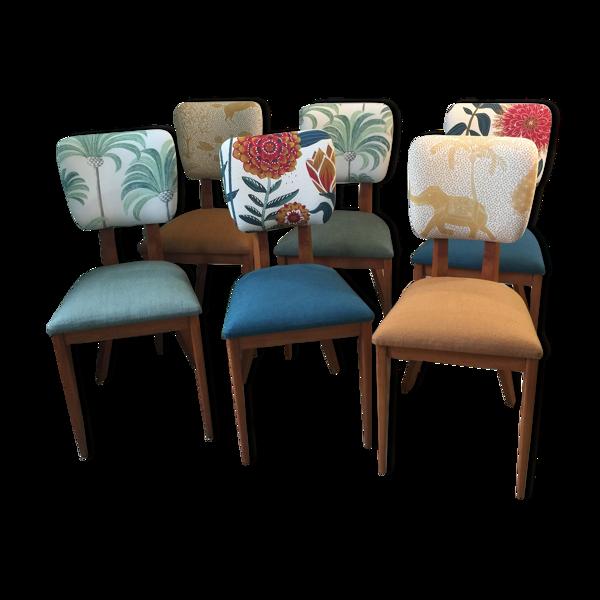 Selency Suite de 6 chaises vintage rénovées
