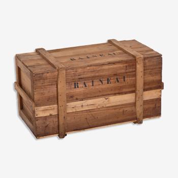 Caisse malle coffre en bois lg 120cm années 60