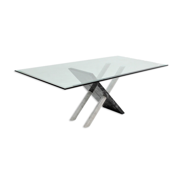 Selency Table à manger en marbre italien de Carrara des années 1970
