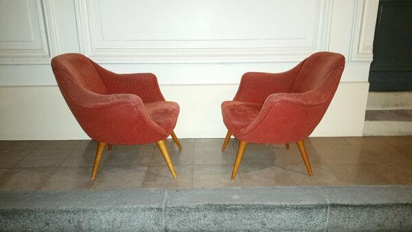 1/2 fauteuil cocktail années 50 60 egg organique