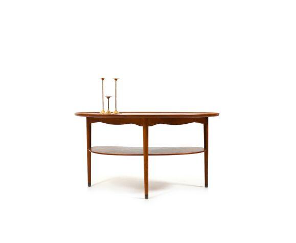 Table basse en forme de rein et de chêne des années 1950