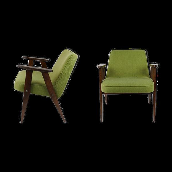 Paire de fauteuils vert de style danois vintage 60's