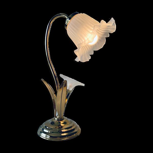 Lampe fleurs vintage laiton et verre