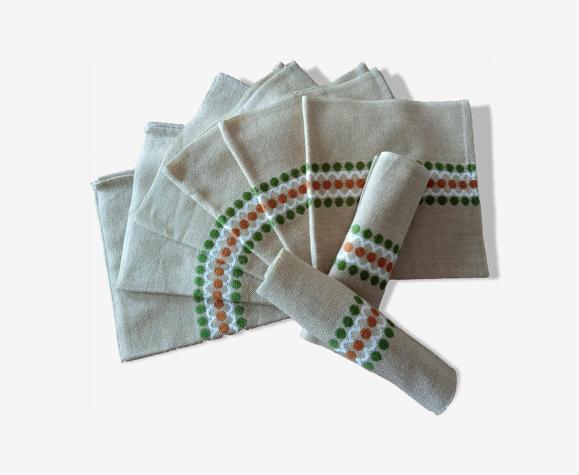 Set de 8 serviettes de table vintage 1970